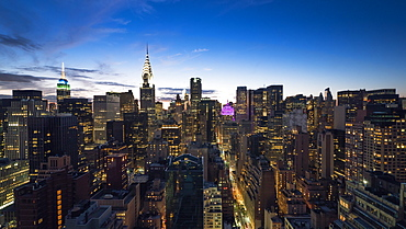 Manhattan skyline with the Chrysler Building and Empire State Building at dusk, New York, United States of America, North America