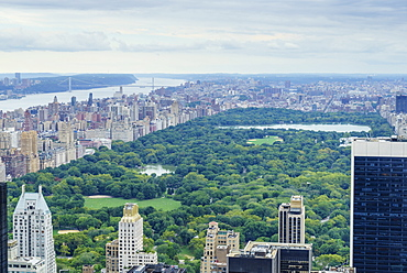 High angle view over Central Park looking north, New York, United States of America, North America