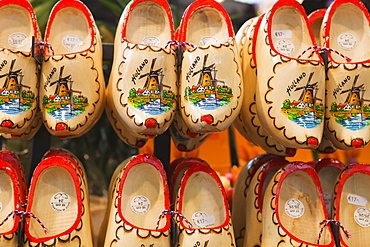 Wooden Dutch clogs for sale in a market, Amsterdam, Netherlands, Europe