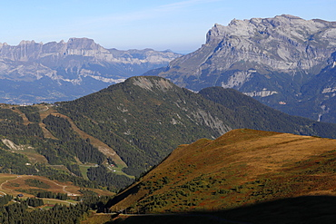 Landscape of the French Alps in summer, Aravis and Fiz mountains, Haute-Savoie, France, Europe