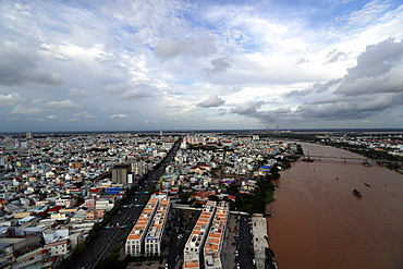 Aerial view of Can Tho, Can Tho, Mekong Delta, Vietnam, Indochina, Southeast Asia, Asia