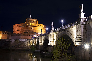 The Mausoleum of Hadrian (Sant'Angelo Castle) at night, UNESCO World Heritage Site, Rome, Lazio, Italy, Europe