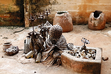 Voodoo temple and Voodoo fetish statues, Togoville, Togo, West Africa, Africa