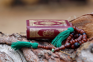 Islamic prayer beads and Quran, Lome, Togo, West Africa, Africa