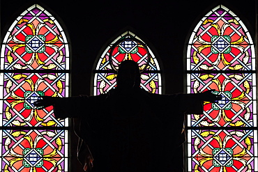 Christ in Glory against stained glass windows, Nha Trang Cathedral, Nha Trang, Vietnam, Indochina, Southeast Asia, Asia