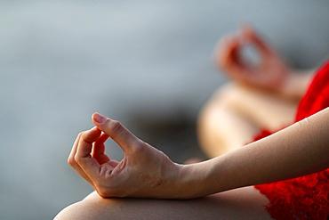 Woman in meditation, Jnana mudra, Kep, Cambodia, Indochina, Southeast Asia, Asia