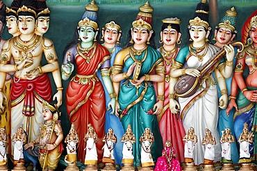 A sculptural frieze depicting Hindu deities, Sri Mahamariamman Hindu Temple, Kuala Lumpur. Malaysia, Southeast Asia, Asia