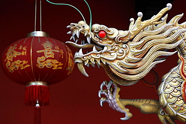 Golden dragon decoration at entrance, Guan Di Chinese Taoist Temple, Kuala Lumpur, Malaysia, Southeast Asia, Asia