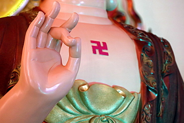 Mudra, Siddhartha Gautama, the Shakyamuni Buddha, Huynh Dao Buddhist Temple, Chau Doc, Vietnam, Indochina, Southeast Asia, Asia