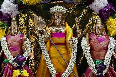 Hindu deities including Murugan, God of War, Sri Mahamariamman Hindu Temple, Kuala Lumpur, Malaysia, Southeast Asia, Asia