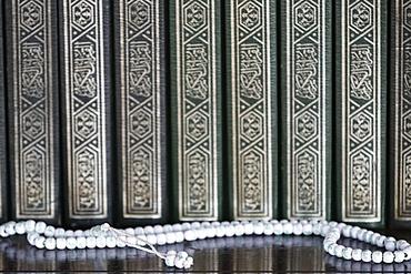 Holy books of Quran and Islamic prayer beads (misbaha), Putra Mosque (Masjid Putra), Putrajaya, Malaysia, Southeast Asia, Asia
