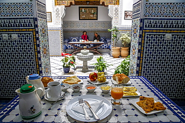 Breakfast in a riad in Fes medina (old city), Fez, Morocco, North Africa, Africa