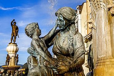 Mothers' Fountain and Philip II statues, Skopje, Republic of Macedonia, Europe