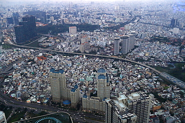Aerial view of downtown Saigon from Landmark 81, Ho Chi Minh City, Vietnam, Indochina, Southeast Asia, Asia