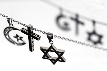 Religious symbols of Christianity, Islam and Judaism, the three monotheistic religions, Interfaith dialogue, France, Europe
