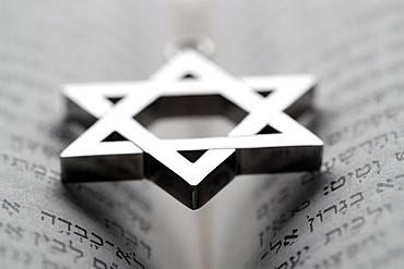 Jewish star (Star of David) on a Torah, France, Europe