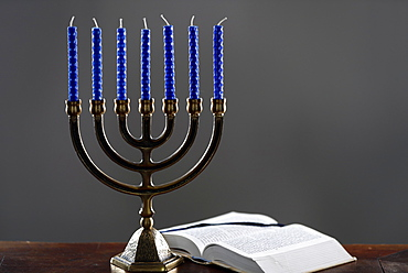 Open Torah and the Menorah (Seven-lamp Hebrew lampstand), symbol of Judaism since ancient times, France, Europe