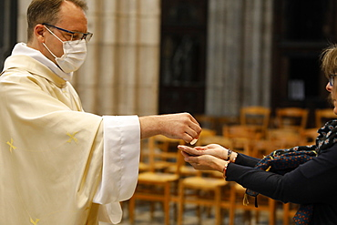 Holy Communion, Ascension Mass in Notre Dame Cathedral, Evreux, France, Europe