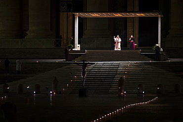 Pope Francis presides over Good Friday's Way of the Cross (Via Crucis) at St. Peter's Square, Vatican, Rome, Lazio, Italy, Europe
