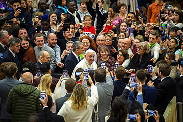 Pope Francis during his weekly general audience in Paul VI Hall at the Vatican, Rome, Lazio, Italy, Europe