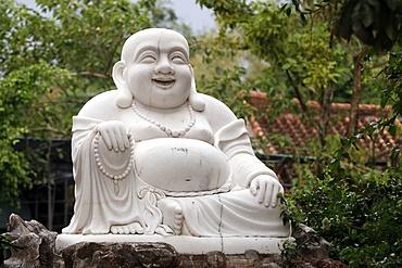 Thien Ung Buddhist temple, smiling Maitreya Buddha, big happy Maitreya Buddha statue, Quy Nhon, Vietnam, Indochina, Southeast Asia, Asia