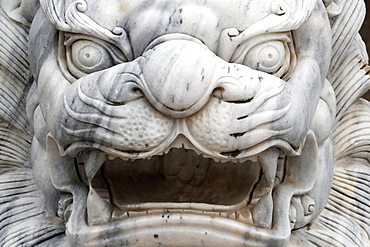 Long Khanh Buddhist Pagoda, Imperial guardian lion statue at entrance, Quy Nhon, Vietnam, Indochina, Southeast Asia, Asia