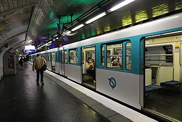 Metro (subway) during lockdown in Paris, France, Europe