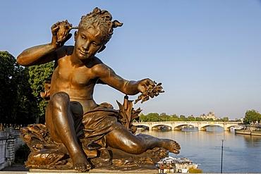 Statue on Alexander III bridge, Paris, France, Europe