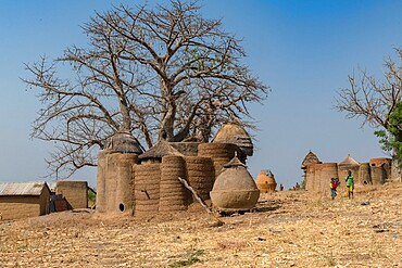 Earth tower house, called takienta, of Batammariba people in Koutammakou region, La Kara, Togo, West Africa, Africa