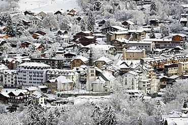 French Alps in winter. Saint Gervais Mont-Blanc village. Famous ski station. Saint-Gervais. France.