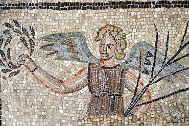 PBasilica of Aquileia. Mosaic floor, 4th century. This Christian mosaic version of Victoria, Roman goddess of Victory. Italy.