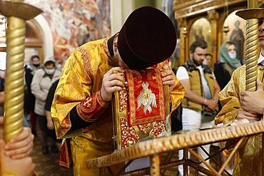 Gospel reading, Orthodox Mass in Transfiguration Church, Chisinau, Moldova, Europe