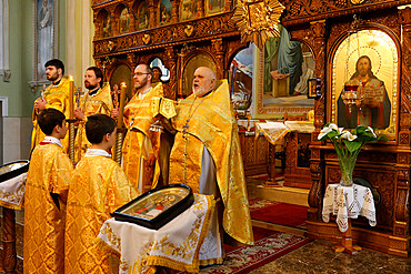 Orthodox Mass in Transfiguration Church, Chisinau, Moldova, Europe