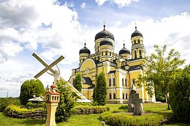 Hancu Monastery garden and church, Bursuc, Moldova, Europe