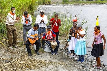Afro-Ecuadorian group playing bomba and dancing in Valle del Chota, Ecuador, South America