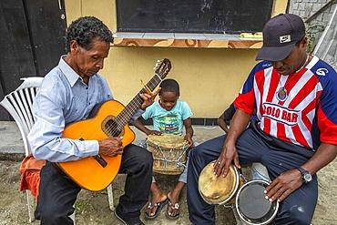Afro-Ecuadorian musicians in Valle del Chota, Ecuador, South America