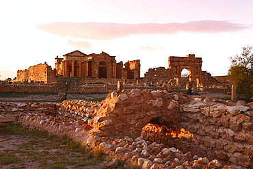 View to Forum and Capitol at the Roman ruins of Sbeitla, Tunisia, North Africa, Africa