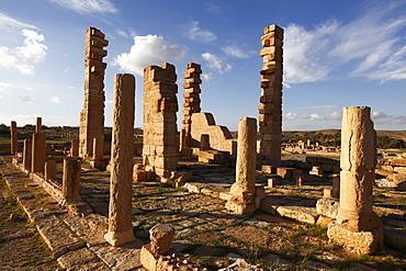Pillars of the Church of St. Servus at the Roman ruins of Sbeitla, Tunisia, North Africa, Africa