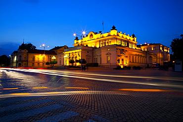 Floodlit National Assembly Building, Ploshtad National Assembly Square, Sofia, Bulgaria, Europe