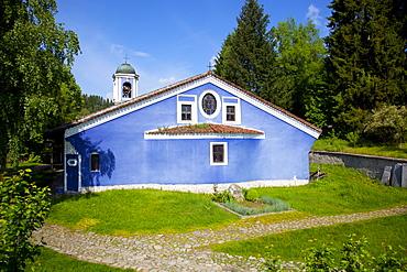 Blue walled Church of Sveta Bogoroditsa (Uspenie Bogorodichno Church), Old Town, Koprivshtitsa, Bulgaria, Europe