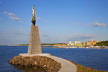 Statue of St. Nicholas in South Nessebar Bay, Nessebar, Bulgaria, Black Sea, Europe