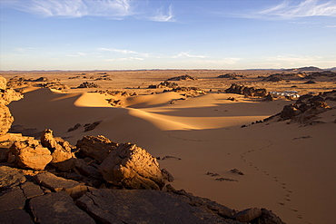 A tented camp in the Akakus Fezzan desert, Libya, North Africa, Africa