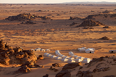 A tented camp in the Akakus, Fezzan desert, Libya, North Africa, Africa