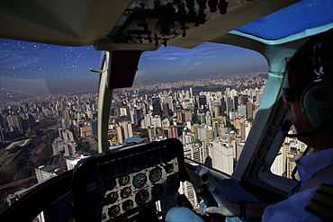On board the helicopter taxi over Sao Paulo, Brazil, South America