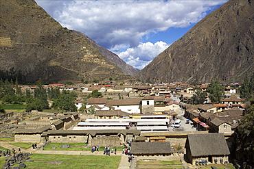 View over Salinas de Maras village, Sacred Valley, Peru, South America