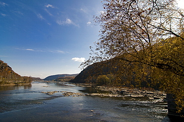 The confluence of the Potomac and Shenandoah Rivers at Harpers Ferry, West Virginia, United States of America, North America