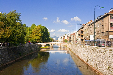 The river Miljacka, Sarajevo, Bosnia-Herzegovina, Europe