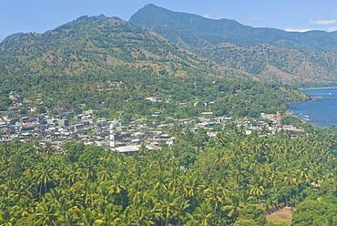 Aerial view of the island of Anjouan (Ndzuani) (Nzwani), Comoros, Indian Ocean, Africa