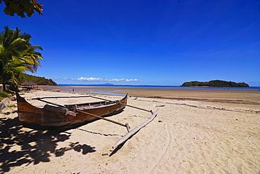 The beach of the touristy Ambatoloaka, Nosy Be, Madagascar, Indian Ocean, Africa