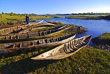 Canoes by the Manakara River, part of the Pangalanes Canal system, Manakara, Madagascar, Indian Ocean, Africa
